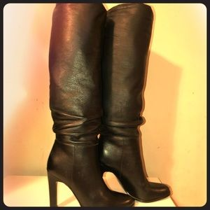 "Tall Black leather boots ""Ivanka Trump"" size 8"